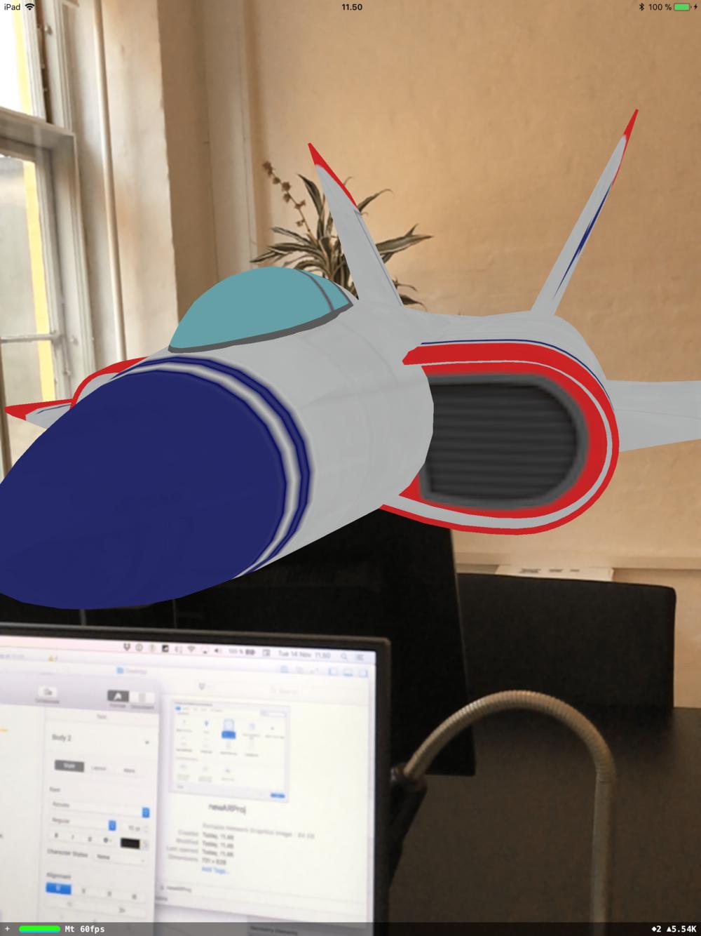Augmented Reality svævefly lavet i Apple iOS ARKit demo projekt.
