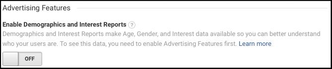 Eksempel på en af de features, der skal slås fra i Google Analytics, hvis det anvendes i børneapps.