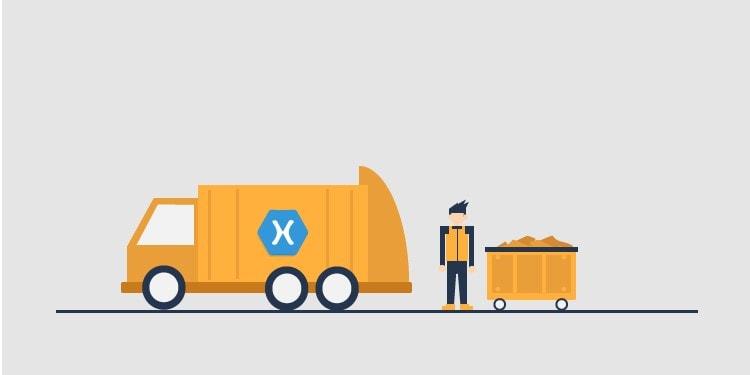 Illustration over memory forbrug og garbage collection i Xamarin sammenlignet med native Android og iOS apps.