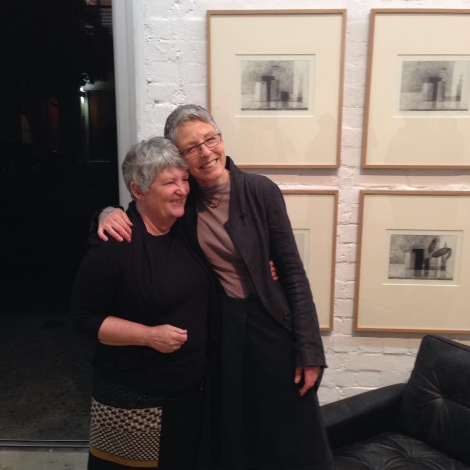 Heather Burness and Jude Rae at opening of Jude's exhibition, September 2015. Image courtesy of Jensen Gallery.