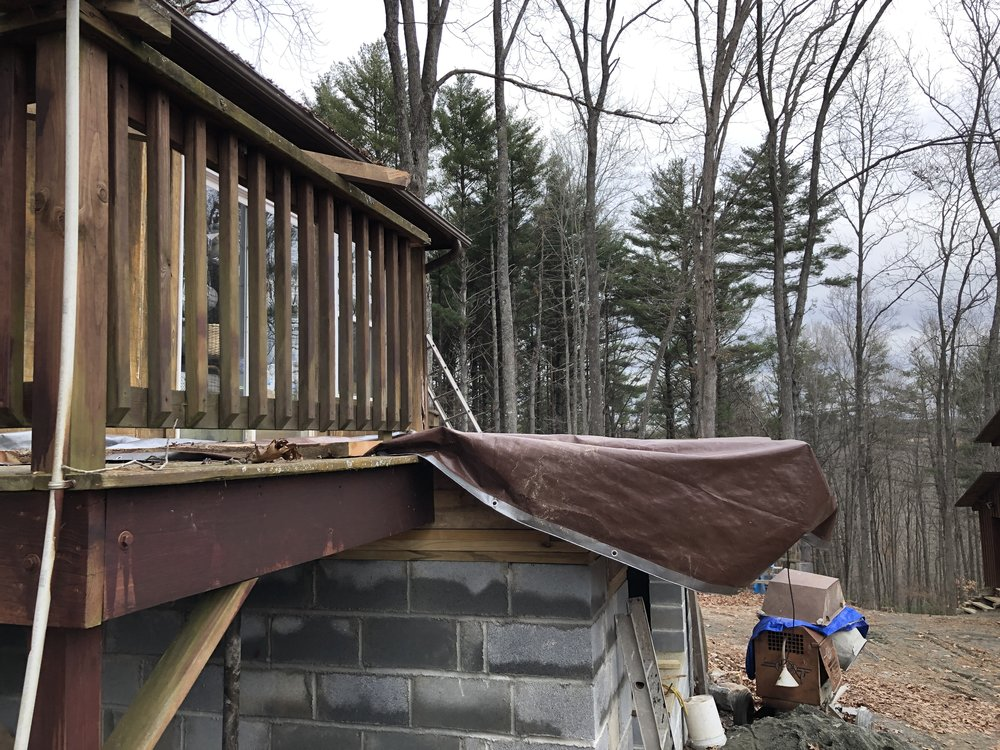 Here is the decking - which extends 2 feet beyond the basement wall.