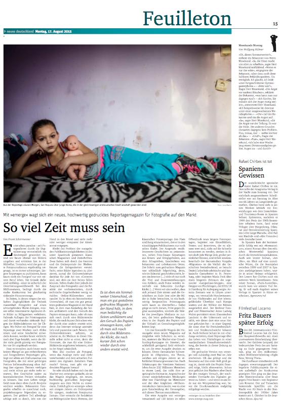 Neues Deutschland, August 2015
