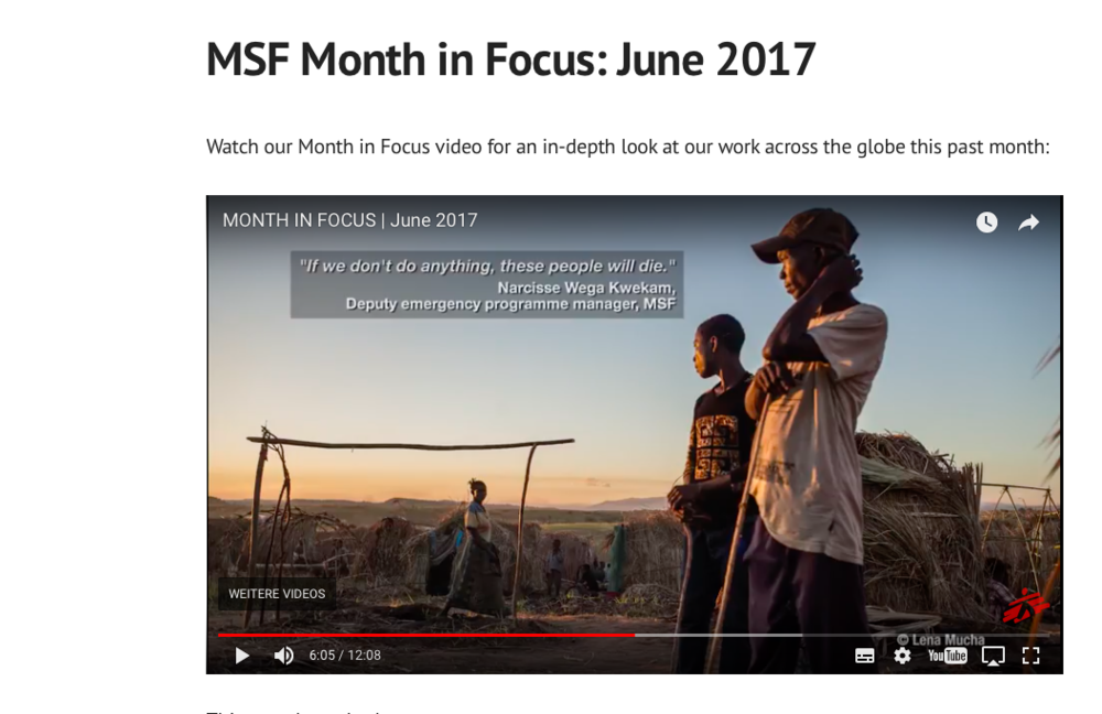 MSF Month in Focus, June 2017