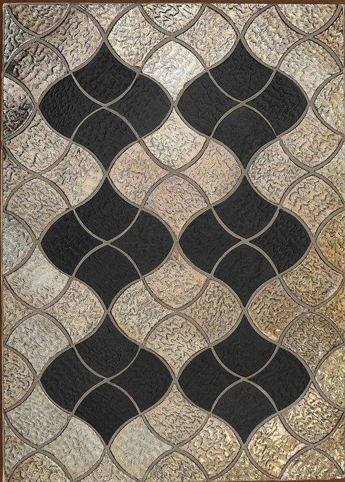 Beige and Black Shield Tile Pattern