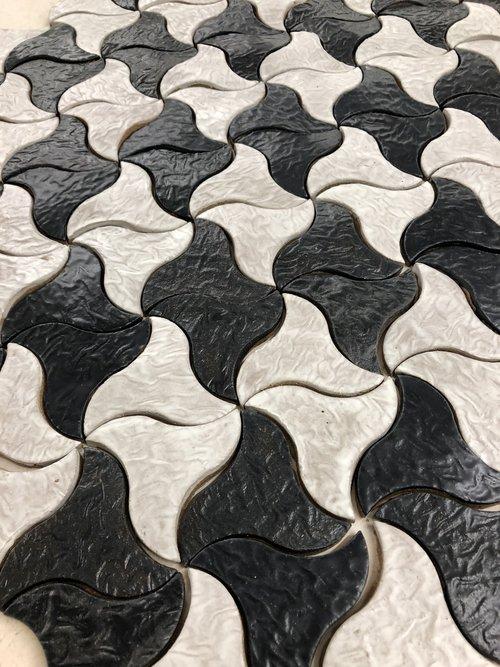 Black and White Fan Tile Pattern