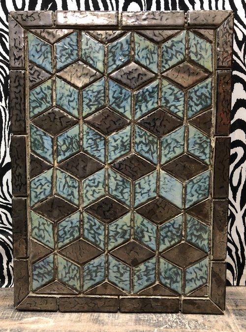 3D Tile Design Blue and Black