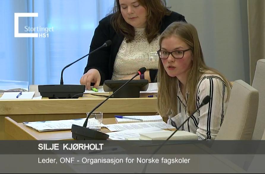 ONF deltok på høring om stortingsmeldingen om fagskolen 19.01 på Stortinget.