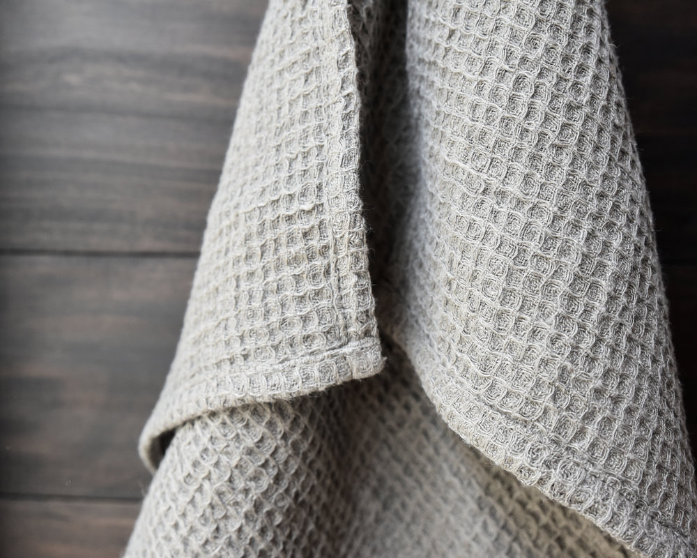 Waffle Linen Tea Towel — Nutral