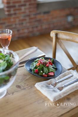 A salad created for our summer 2015 issue by the chef at Simon Pearce.  Photo sent to us by Simon Pearce.