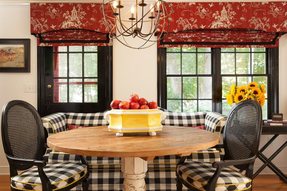 red toile window treatments kitchen design