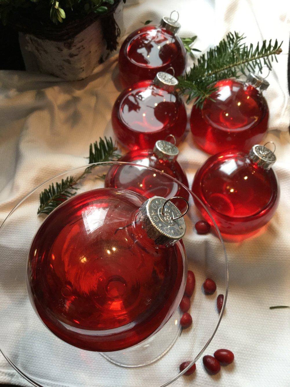 Christmas ornaments martini glass