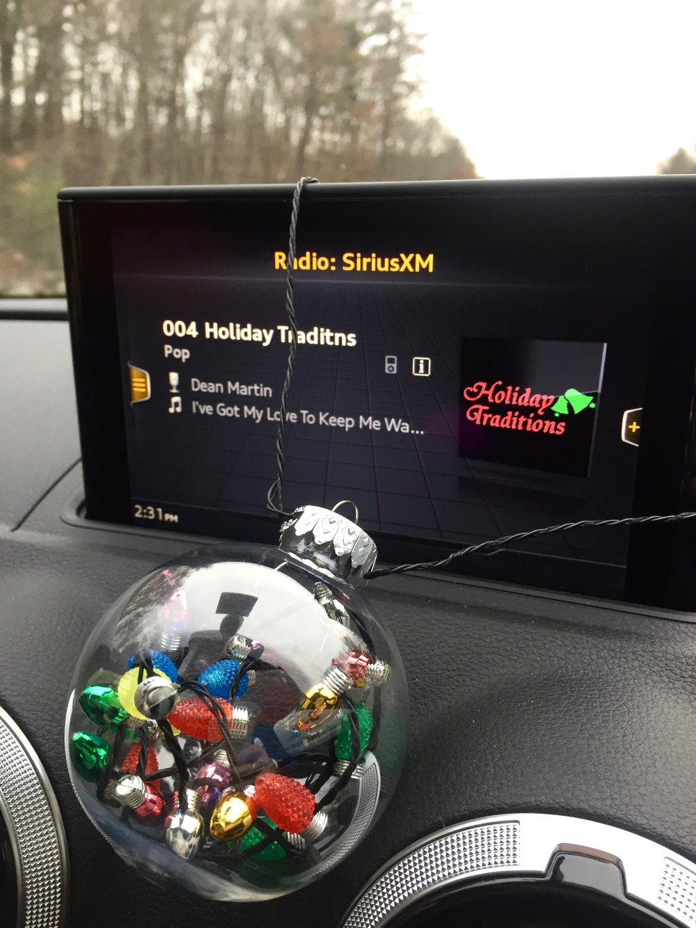 Christmas ornament on the dashboard