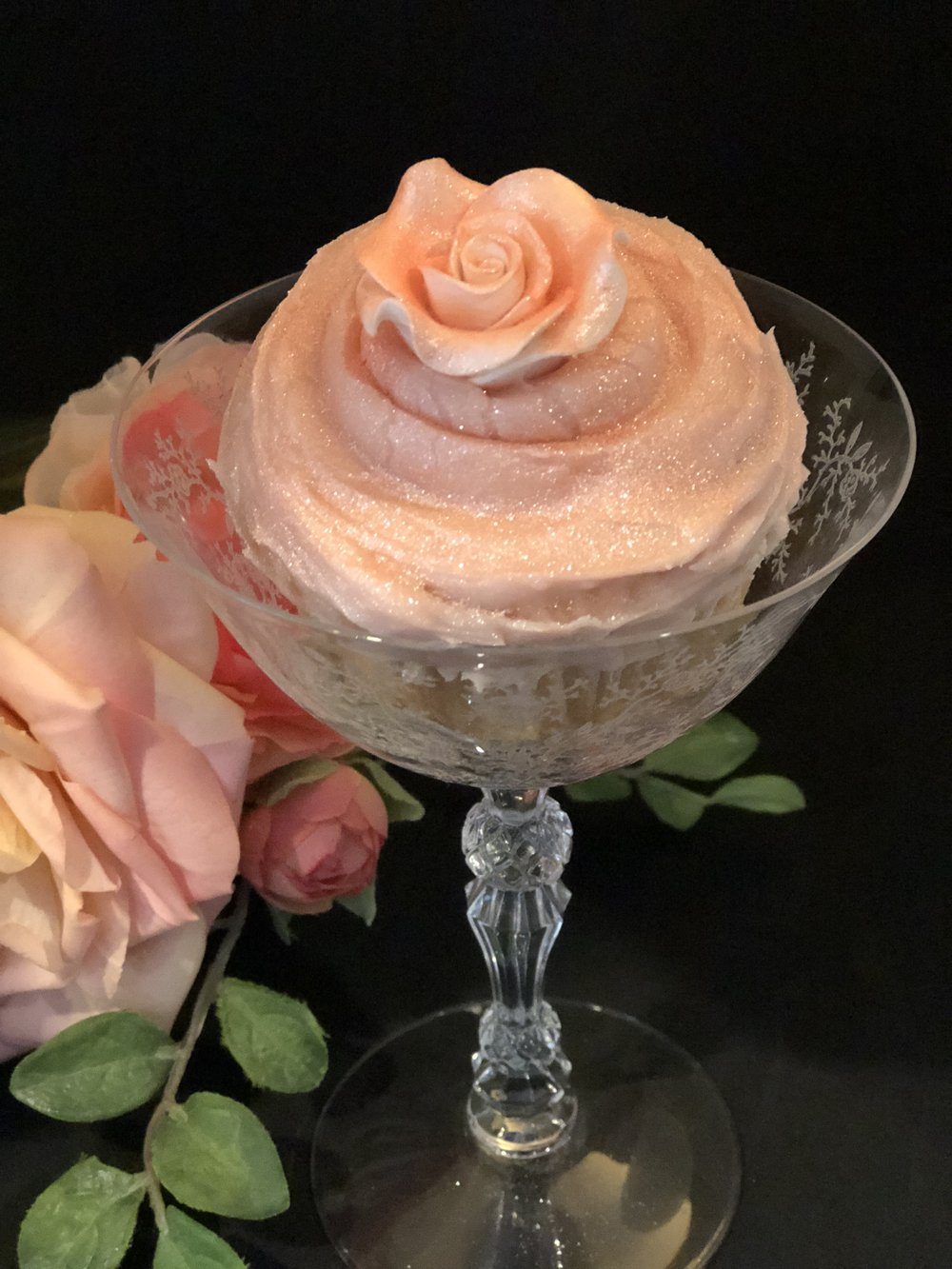 Pink Champagne Cupcake in Champagne glass