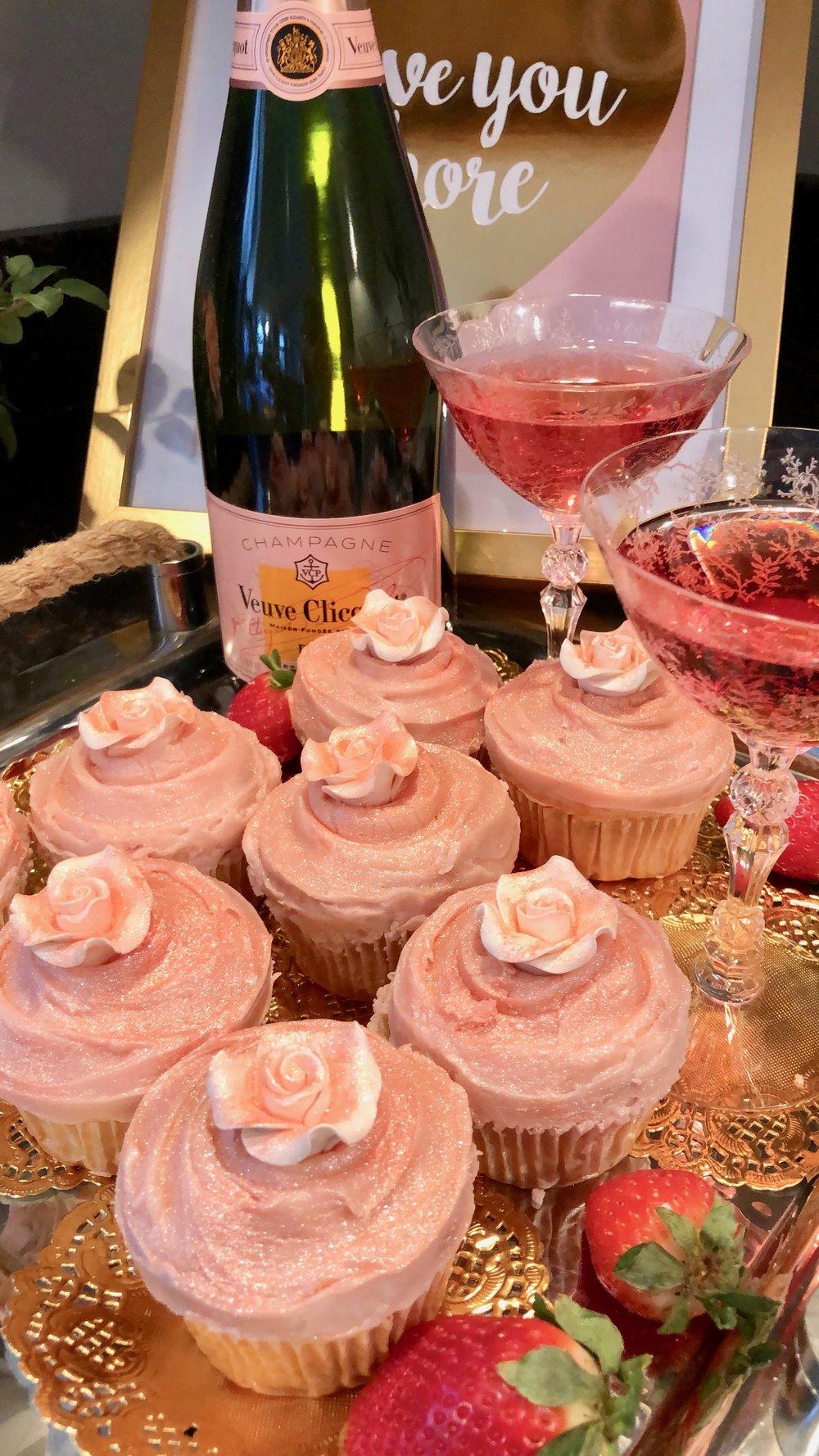 Veuve Clicquot and pink Champagne cupcake recipe