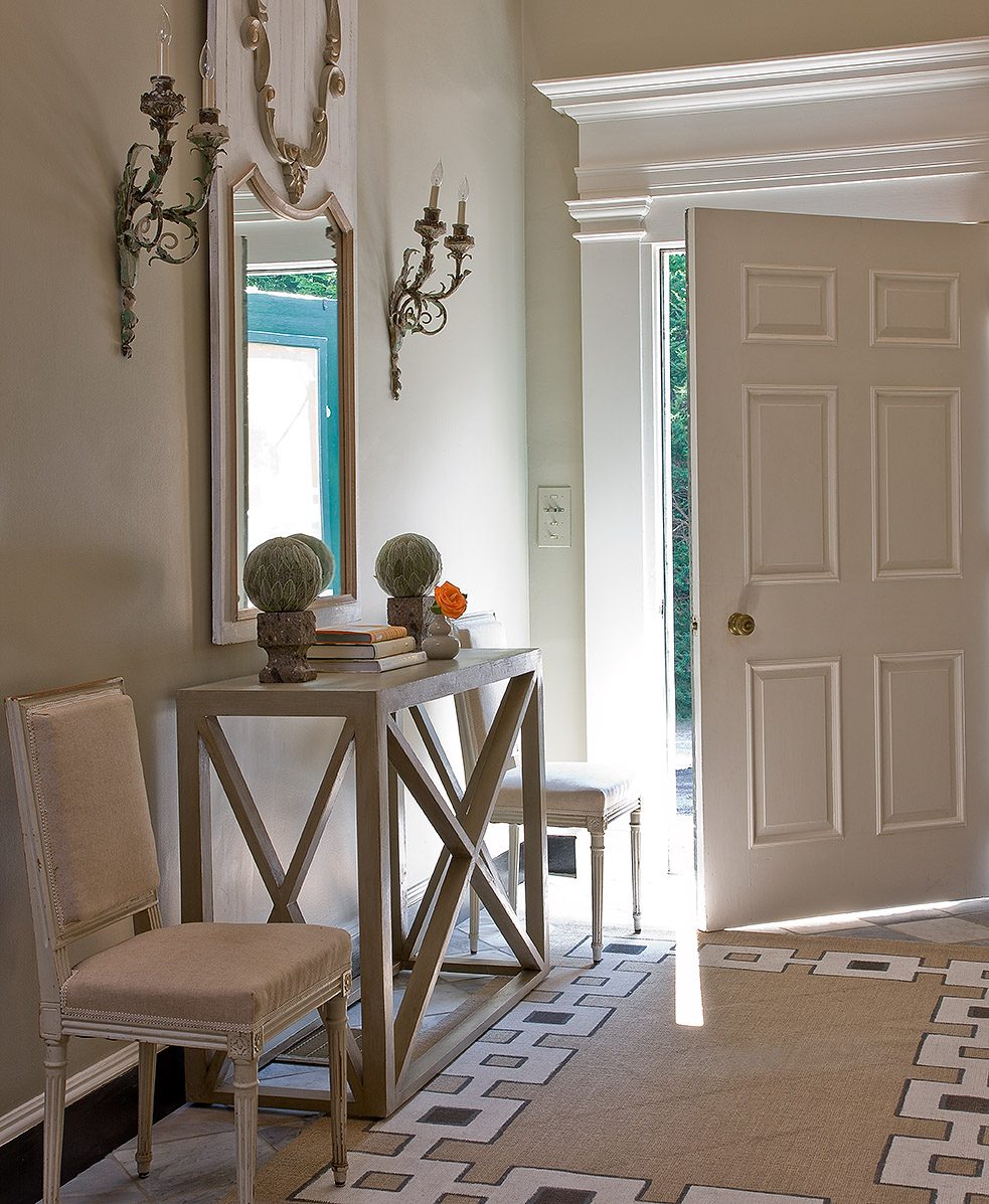 As seen in New England Fine Living magazine, a foyer designed by Honey Collins