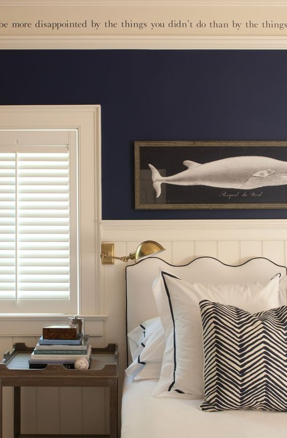 navy blue walls white trim whale art nautical room.jpg
