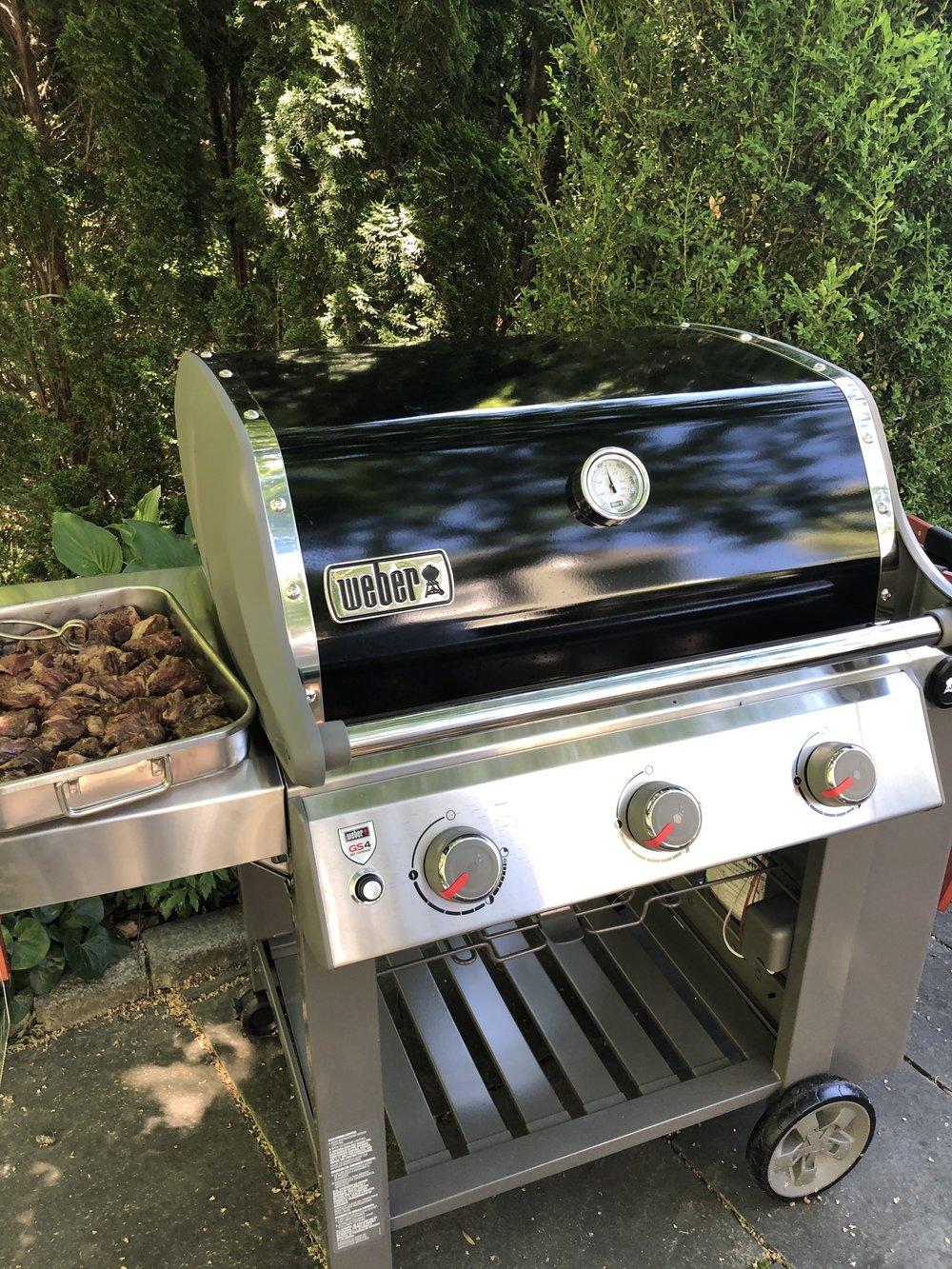 Grilling steak tips on Weber stainless steel grill .jpg