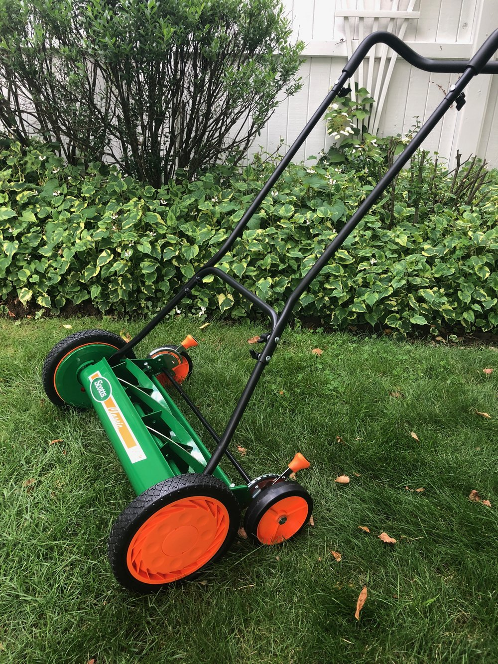 Call me crazy, but I was excited when I got this Scotts Mower as a gift from my husband. It is perfect for some of the smaller lawn areas of our yard. You can read more about my mowing experience  here  or if you want to learn more about the Scotts mower, just click on the photo below.