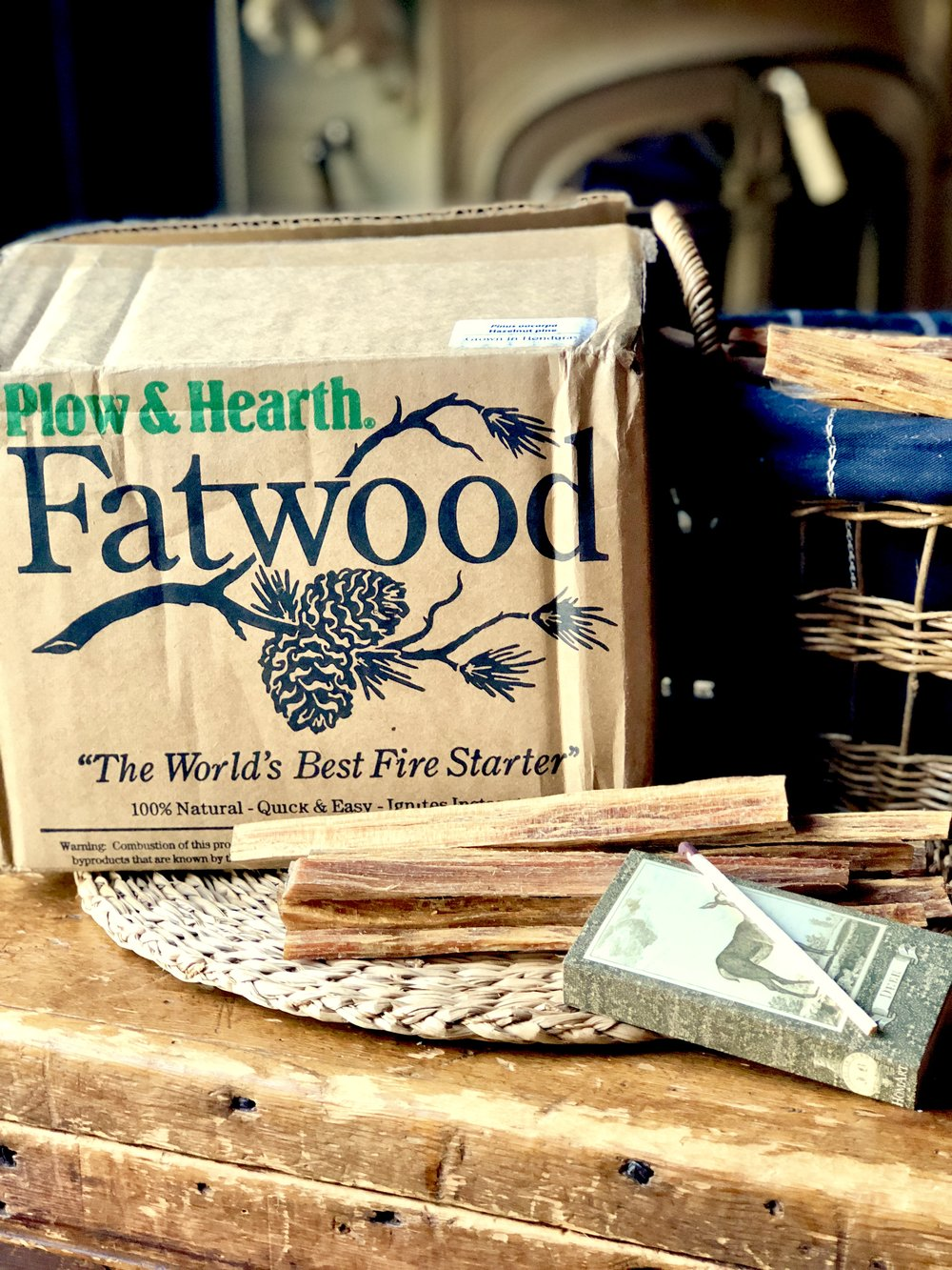 Some know the fall season is upon them when the leaves start turning. For me, it is when our boxes of  Fatwood  form Plow & Hearth arrive at our front door.