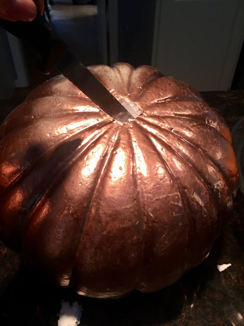 metallic pumpkins for New England style topiary