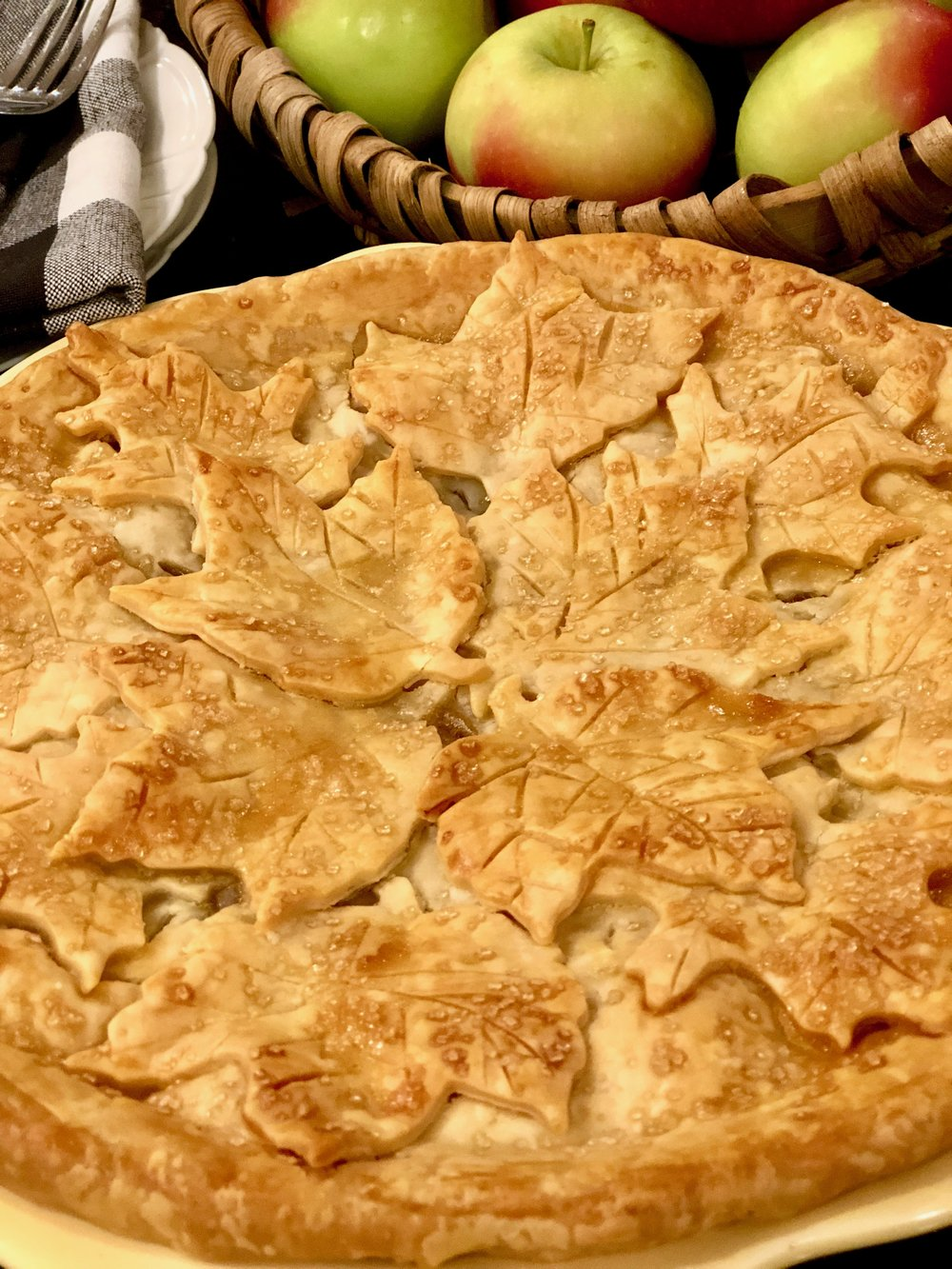 Apple Pie with pie crust leaves