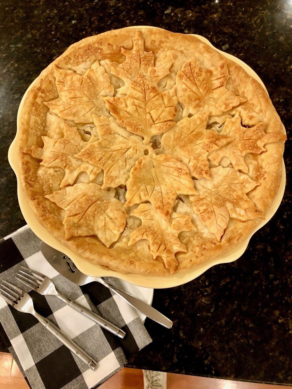 warm apple pie out of the oven