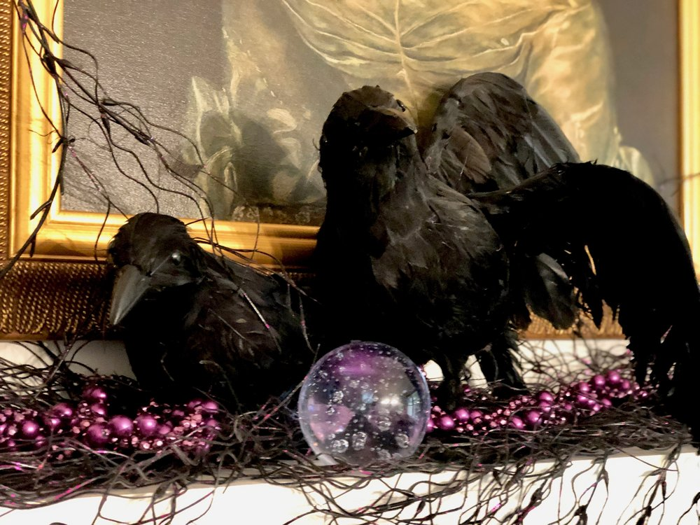 ravens on fireplace mantle halloween decor