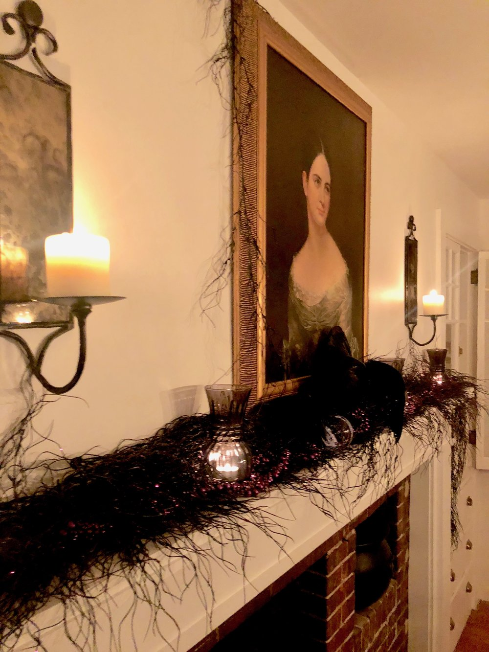 black and purple halloween decor