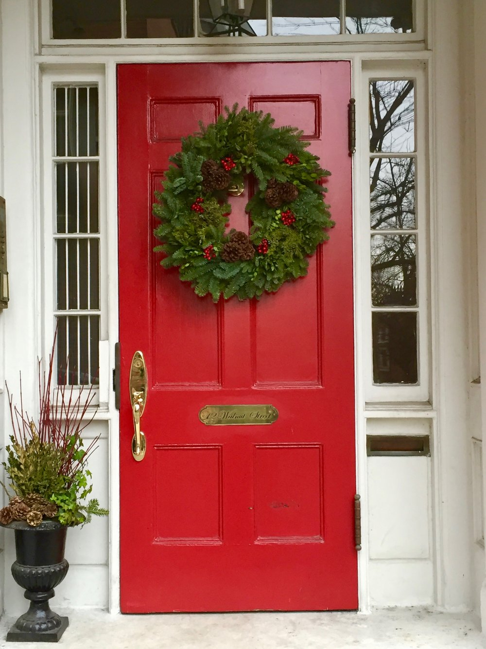 Christmas Wreath Front Door Beacon Hill New England.jpg