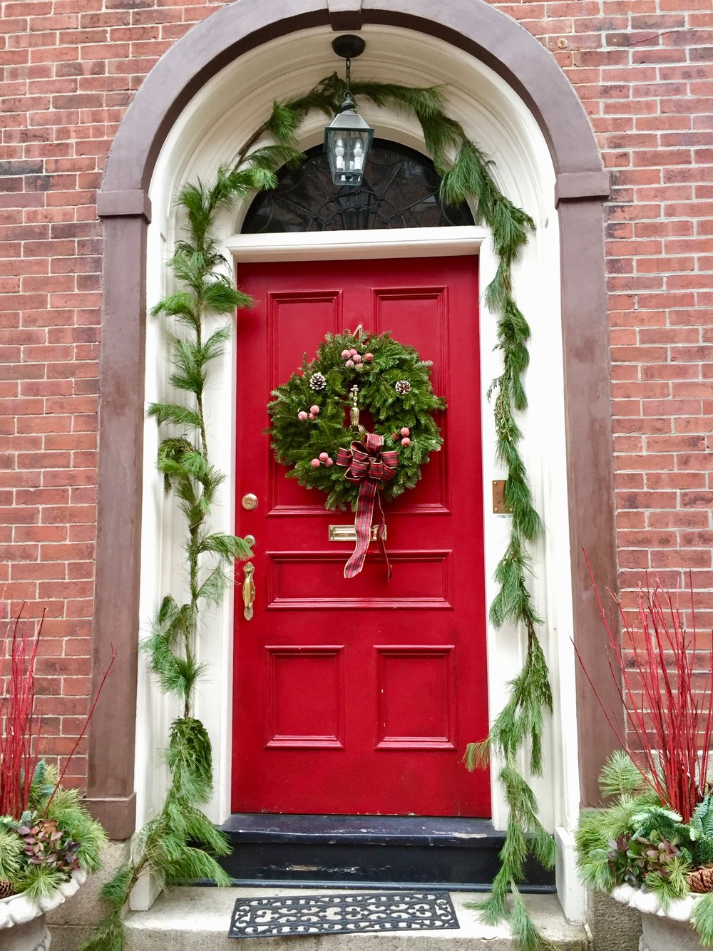 Red Door with Christmas Wreath Beacon Hill New England Fine Living.jpg