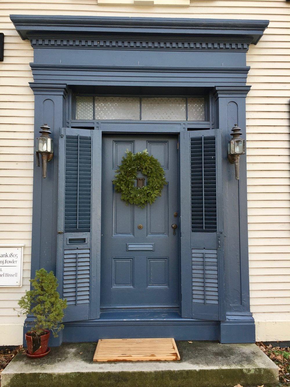 Front door antique home Wickford Rhode Island
