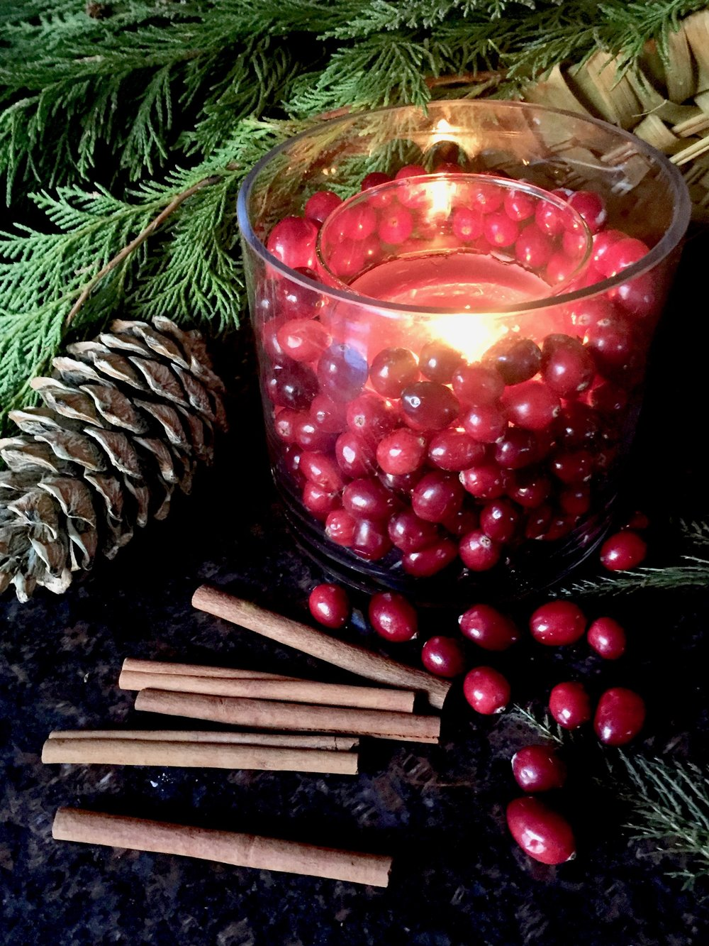 Cranberries used as a candle centerpiece