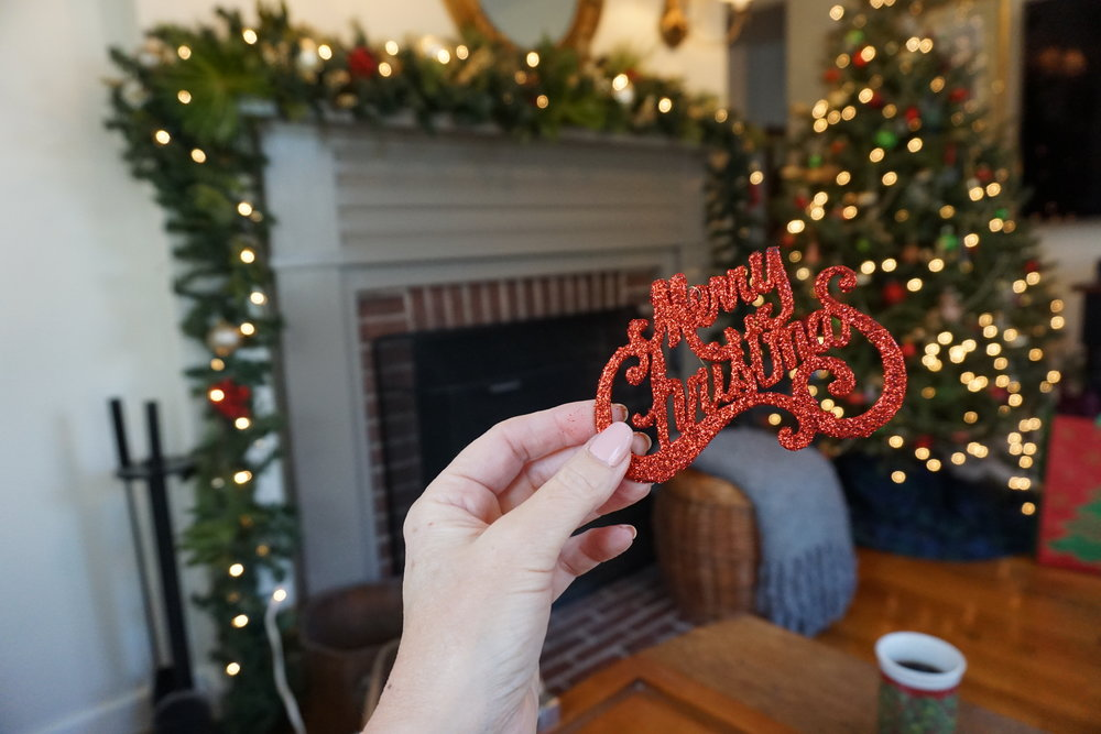 Red merry Christmas ornaments