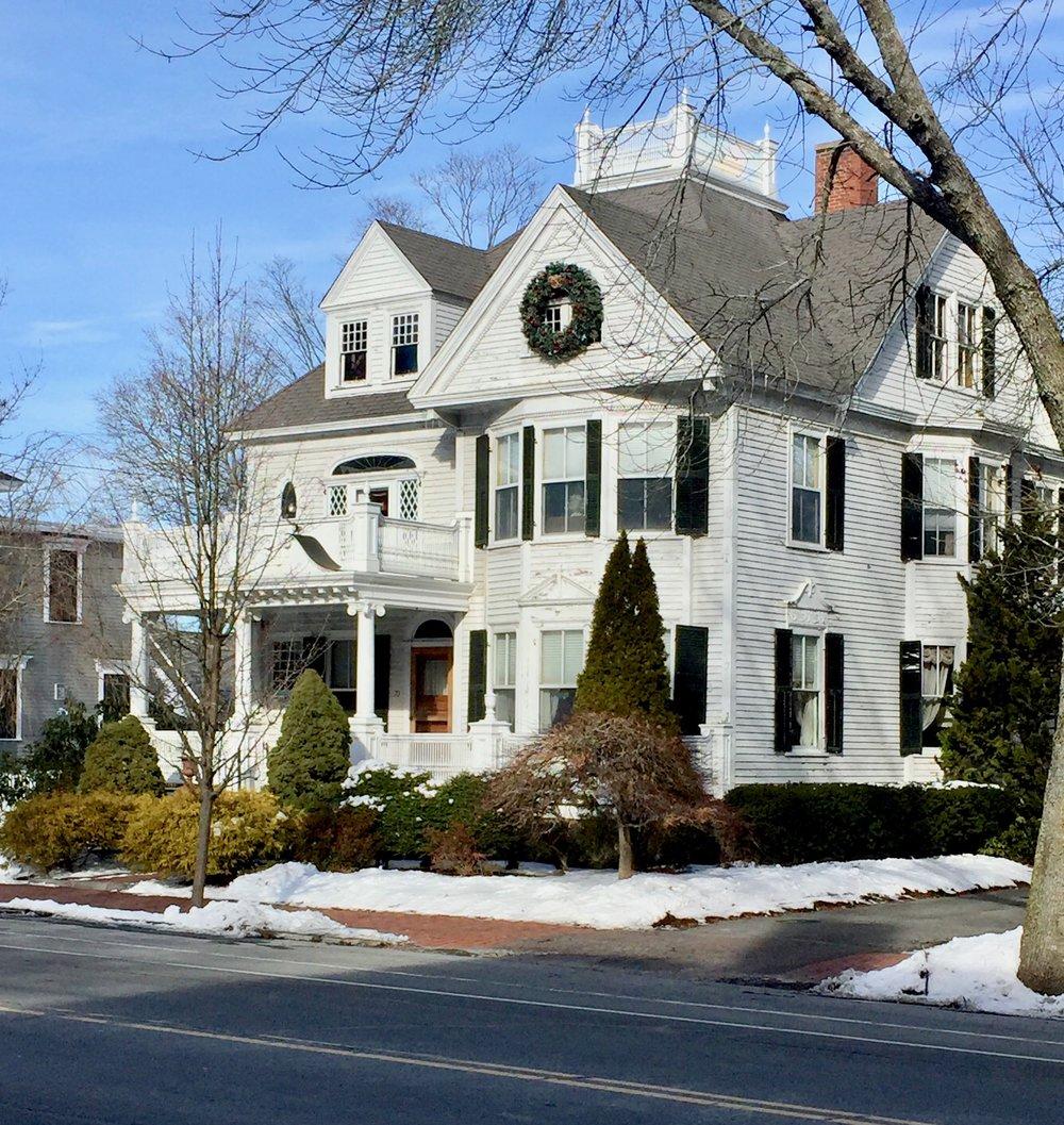 white antique victorian white trim black shutters widows walk Newburyport MA New England USA.jpg
