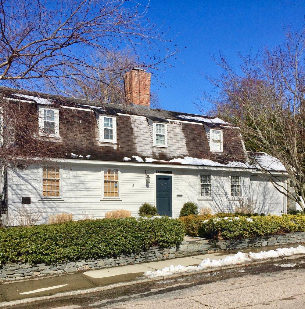 Newport Rhode Island White antique home green front door New England USA.jpg