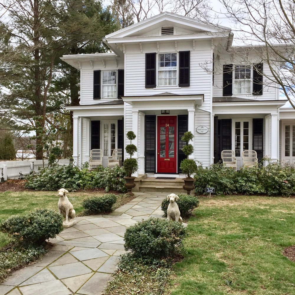 antique home stone dogs and red door Essex Connecticut.jpg