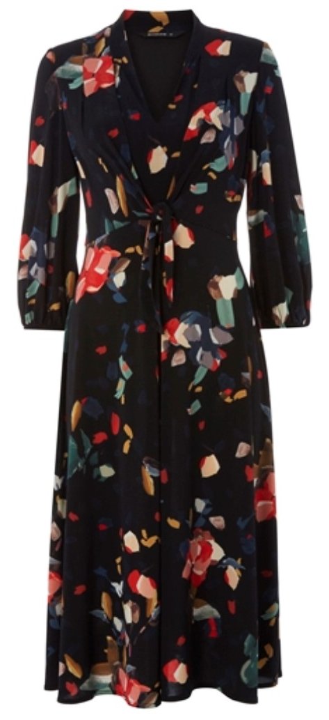Roman, Black Tie Front Tulip Midi Dress, £42