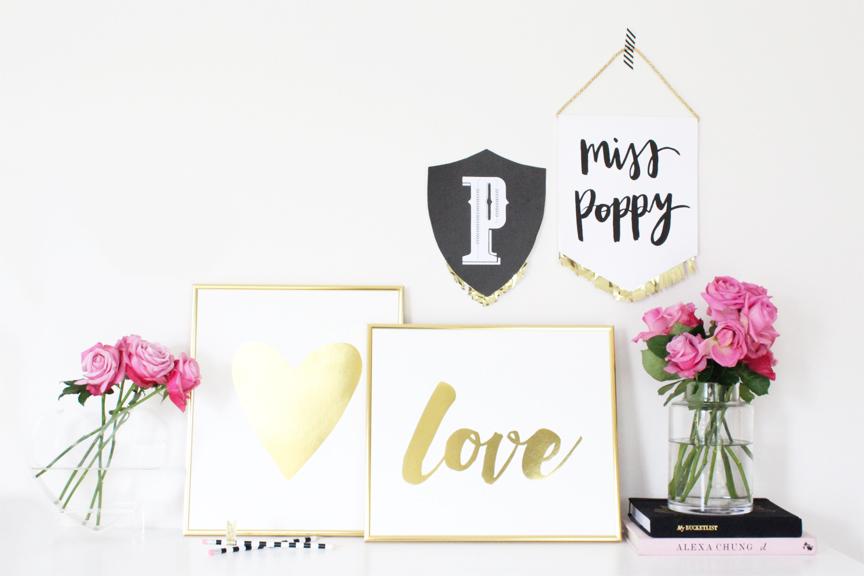 Miss Poppy Design:: Gold Foil Print Collection // Love / Heart / Handwritten / Styling