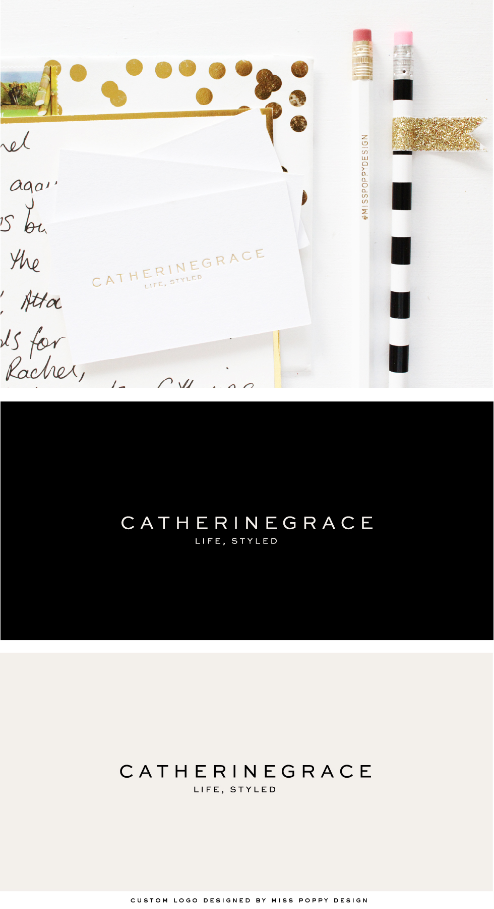 Miss Poppy Design: Custom Logo Design and gold foil business cards designed for CATHERINEGRACE.