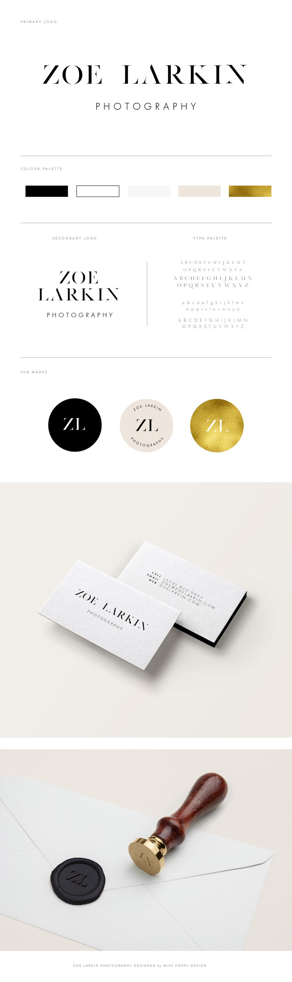 Zoe Larkin Photography: Logo Brand Design by Miss Poppy Design