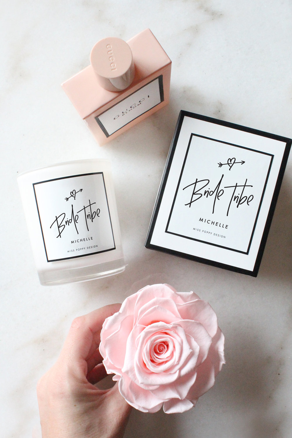 Personalised Pure Soy Candles - We offer a range of beautifully designed and smelling candles which can be personalised for your bridal party, wedding guests and even yourself.