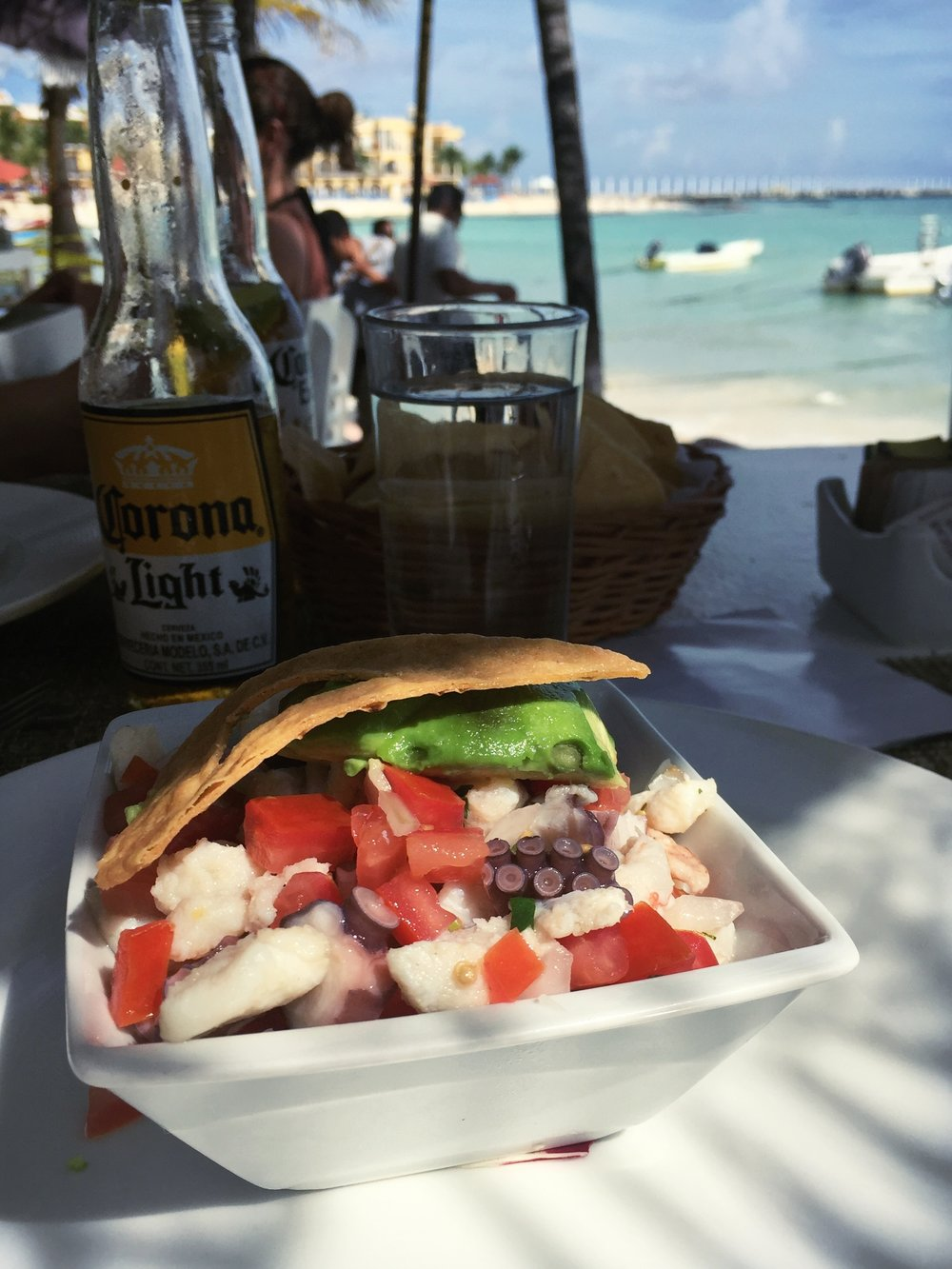 Fish ceviche with a view at Indigo Beach