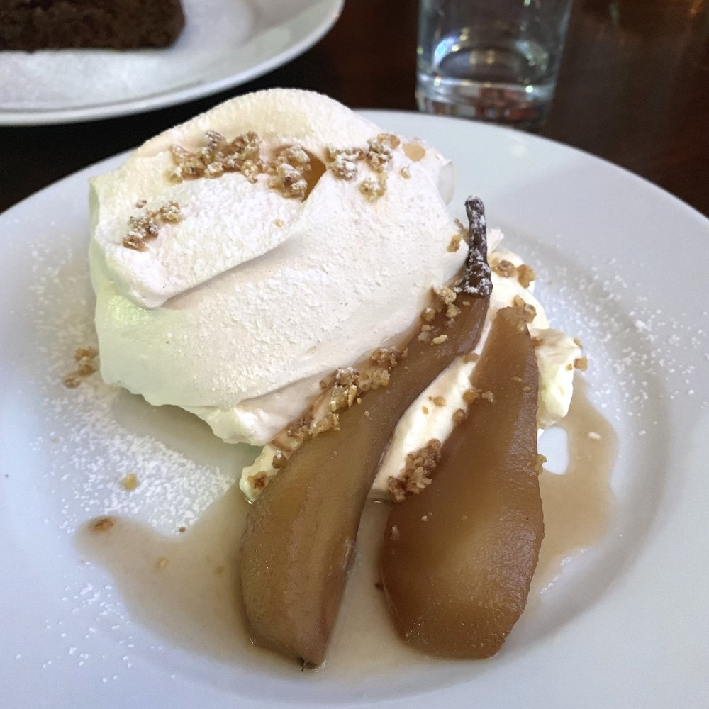 poached pears and meringue