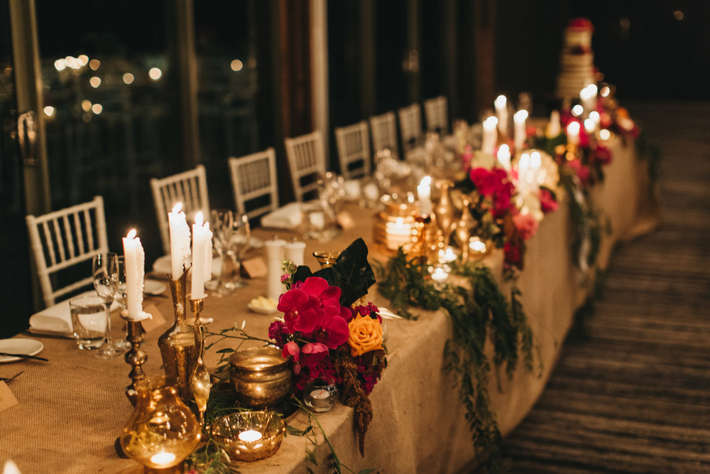 Bohemian wedding reception tablescape sydney