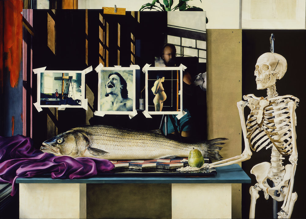 Black Glass Still Life with Fish,Pear and Skeleton