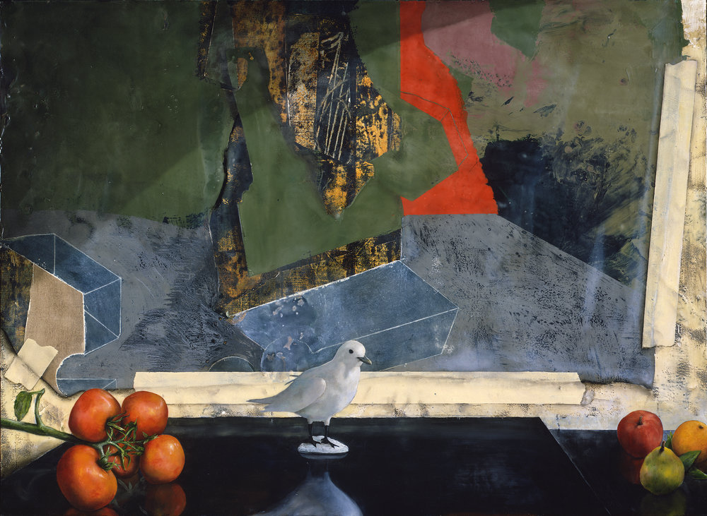 Bird and Tomatoes In Front of Old Painting