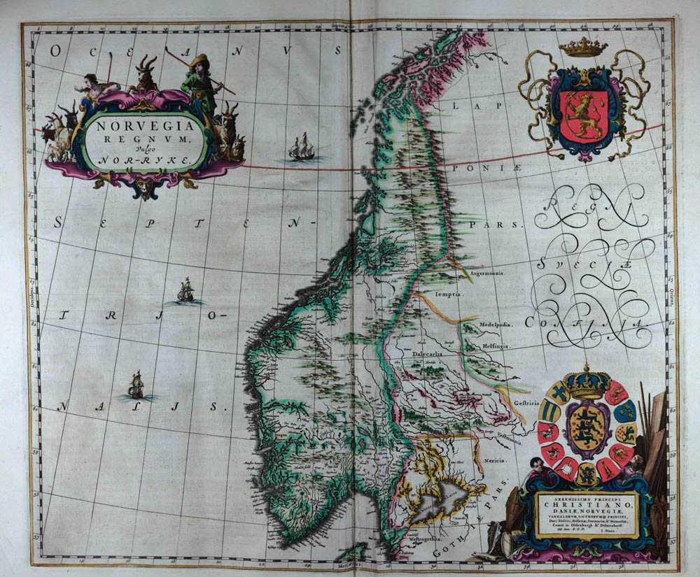 Tegnet av Johannes Blaeu (1596-1673) - Fra Universitetsbiblioteket i Bergen.