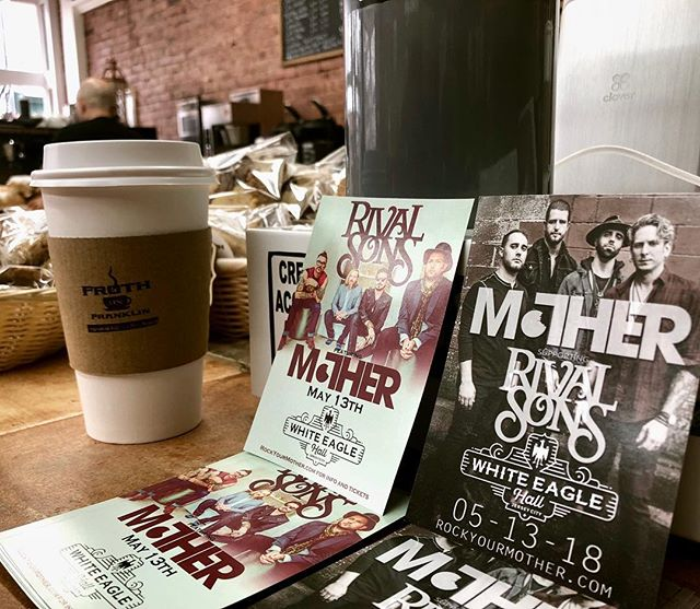 Thank you @frothonfranklin for your continued support. This Jersey City spot uses @kobrickcoffee and has some killer homemade munchies! Anyone interested in some free tickets for our show with @rivalsons ?!?! Leave a comment and stay tuned for a giveaway! . . . #live #music #coffee #munchies #jerseycity #jc #heights #rocknroll #groove #tickets #concert #whiteeaglehall #giveaway #free #mother #rockyourmother #rivalsons #killer #nyc