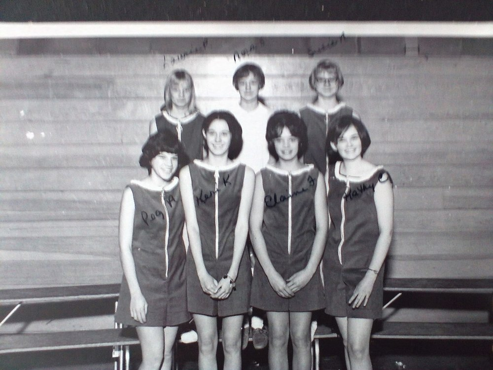 Kathy Carrig, Cheerleading Squad seen lower level, far right.