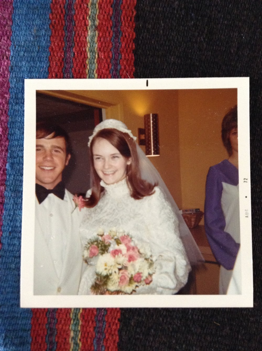Dick and Kathy Holzer wedding day, Stanford, Montana.  Of course, she made her own wedding dress!